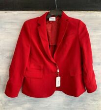 NEW! AKRIS PUNTO Notched-Lapel 2-Button Stretch Crepe Blazer Jacket, 14 - Ruby