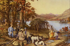 524031 Caza Pesca Y forestales escenas CURRIER y IVES A4 Foto Impresión