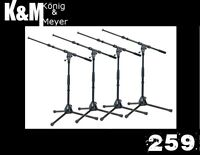 4 Pack K&M Black 259 Low Mic Stand & Boom Konig & Meyer