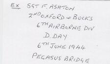 Pegasus Bridge D-Day British AB F.Ashton SIGNED CARD AUTOGRAPHED