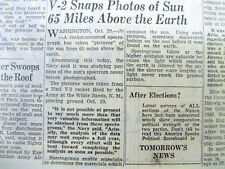 1946 newspaper w 1st photos of the SUN from a US V-2 rocket in UPPER ATMOSPHERE