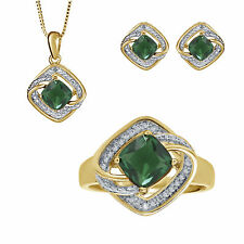 3.41ct Created Emerald Diamonds Yellow Gold Plated Brass Ring Necklace Earrin...