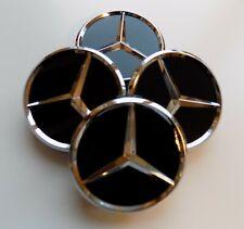 4x Mercedes-Benz Nabendeckel Nabenkappen Felgendeckel 75mm Schwarz/Glanz NEU