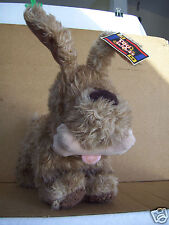Toy Works plush 13'' brown dog with bone in mouth