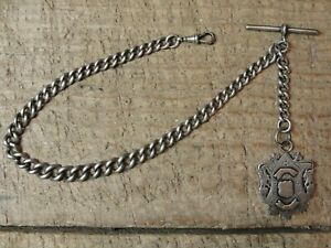 """Antique 1883 Sterling Silver 15"""" Pocket Watch Chain with Fob Made in England"""