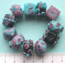 11 x purple, teal and dusky pink, lampwork glass beads (all different)  46 g  48