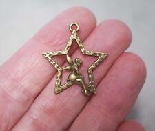 4 Métal Antique Bronze Star Fairy Charms - 28 mm
