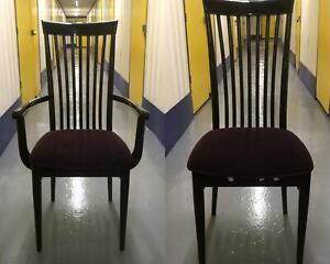 Set of 8+2 Vintage Ebonised Wood & Purple Velvet Dining Chairs & Carvers VGC