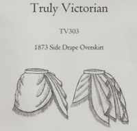 TV303 Multi-Size Truly Victorian 1873 Side Drape Overskirt Sewing Pattern New