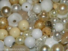 NEW MIXED asortment 6/oz LOOSE BEADS Lot White/Cream Pearls, Crystal, clear