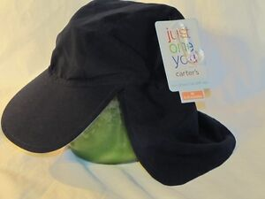 New CARTER'S Reversible Navy Blue / Lt Blue Sun Flap Hat Sz  6-9 Months ~UPF 40+