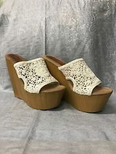 SBICCA VINTAGE COLLECTION WHITE CROCHET WEDGE 10 OPEN BACK BOSTON PROPER 41