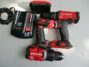 Craftsman 3pc set 2 drill CMCF800, CMCD720,CMCD700 1 battery & Charger