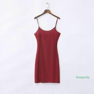 Women Chiffon Strappy Full Slip Slim Underskirt Petticoat Chemise Sleepwear Soft