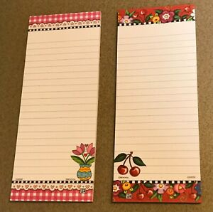 """SET OF 2 MARY ENGELBREIT 8""""L MAGNETIC SHOPPING 30 LINED SHEET LIST PADS!"""