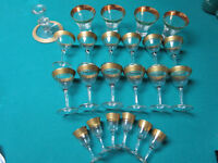 CRYSTAL GLASS SET 23 PIECES CLEAR AND GOLD RIM 23 pcs [*GLASS 12]