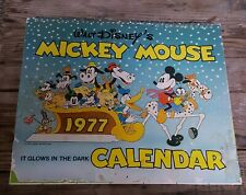 Vintage 1977 Disney Mickey Mouse Glow in the Dark Calendar Damaged