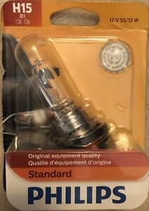 Philips H15 B1 Standard Halogen Replacement Headlight Bulb 1 Pack 12v 55/15w New