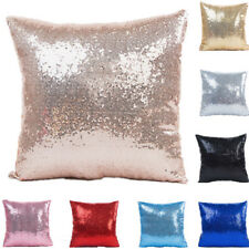 """16"""" Mermaid Glitter Sequins Cushion Cover Pillow Case For Bling Valentine's Day"""