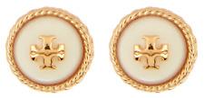 Tory Burch Women's Rope Logo Pearl Stud Earrings Gold