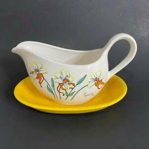 Vintage 80s Petal Pets Tiger Lily Gravy Boat with Tray