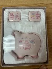 Baby girls my first piggy bank tooth & Curl Set, Baby Gift