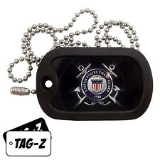 Military Dog Tag Necklace -  U.S. COAST GUARD TAG  with a Dog Tag Silencer