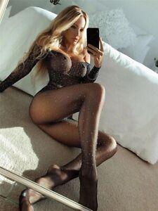 New Sequined Fishnet Body Stockings Women Porno Sexy Lingerie Bodysuit Open