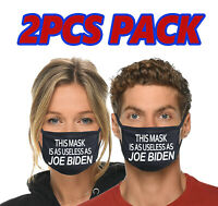 2pcs This Mask Is As USELESS As Joe Biden Funny Face Mask Cotton Cover Anti