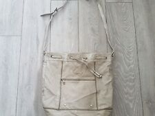 River Island Messenger Bag Slouch Drawstring Cross Body Beige Duffle 43 x 39 cm