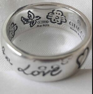 gucci blind for love ring Size 9  925Sterling Silver Handmade Jewellery