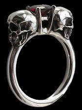 Sterling Silver engagement Skull Ring Garnet Love to death Lovers of Valdaro