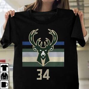 34 Giannis Antetokounmpo Milwaukee Bucks shirt Funny Black Cotton Tee Gift Men