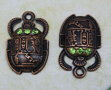Free shipping 8pcs retro style Green crystal oracle alloy charm pendants 25*16mm