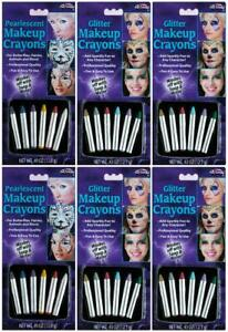 LOT OF 6 - Fun World Halloween Multicolor Glitter + Pearlescent Makeup Crayons