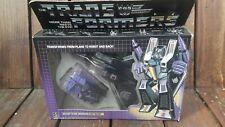Vintage G1 transformadores 1984-Decepticon Skywarp en caja Figura Completo -
