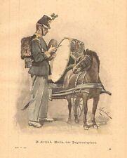 Soldier, Uniform, Sharing Bread With Horse, Vintage 1894 German Antique Print