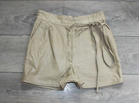"""Brown Leather EPISODE High Waist Front Pleats Hot Pants Shorts Size W28"""" L2"""""""