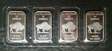 Lot of Four 1oz Silver Buffalo Bars in Plastic