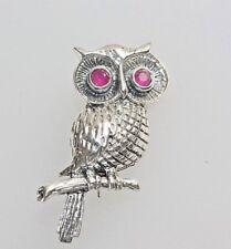 Vintage Owl Bird Pendant  Ruby Eyes Solid Silver *6 grams*