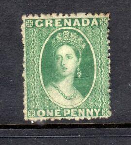 1864 GRENADA 1 D GREEN VICTORIA WK. SMALL STAR MINT NO GUM