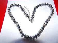 Sparkly bling faceted silver glass and crystal rondel bead necklace XMAS MB49