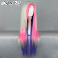 75CM Mixed Blonde /Pink /Purple Long Straight Anime Cosplay Women Wig+Cap