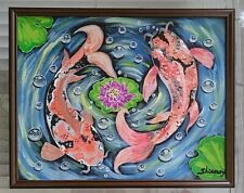 Original Acrylic paintings Koi Fish 11x14 canvas signed by the original Artist