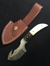 Damascus Steel Hunting Knife White & BlackAnimal Bone Handle Hunting Knives