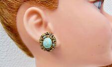 Ohrringe Art Déco,clip aus Metall golden und D'eine türkis poliert
