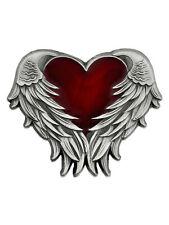 PinMart's Antique Nickel Heart with Angel Wings Enamel Lapel Pin