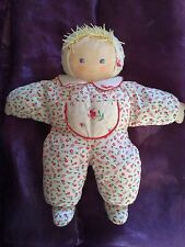 Doudou poupee chiffon molle fille fleurie grelot 40cm  COROLLE 1993 bebe vintage