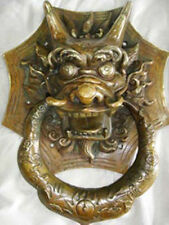 Folk Chinese FengShui Bronze Copper Dragon Head Mask Statue Gate Door Knocker
