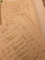 "Vintage Ledger Paper Lovely Ladylike Calligraphy 1883 New England. 7.75"" X 13""."